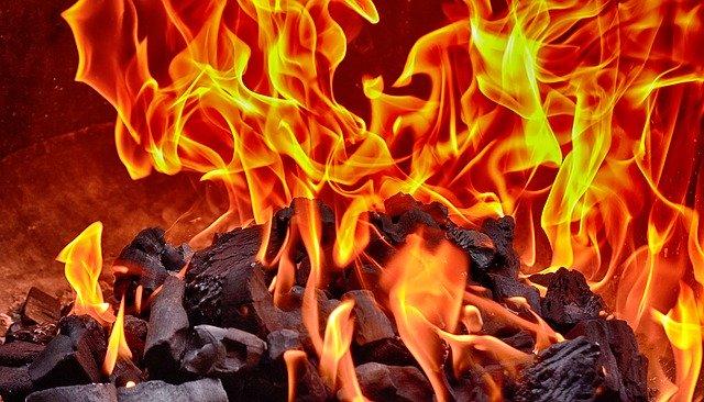 Carbón vegetal quemando